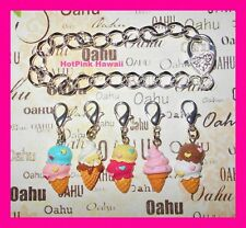 6pcs Icecream cone 2 scoops heart Sprinkles Charm bangle Bracelet Silver Plated
