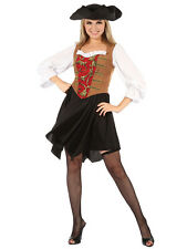 Ladies Deluxe High Seas Caribbean Pirate Wench Fancy Dress Costume Adult Outfit