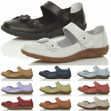 WOMENS LADIES FLAT MARY JANE COMFORT PADDED VELCRO LEATHER SHOES SANDALS SIZE