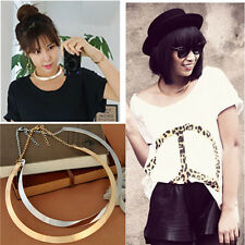 Women Punk Curved Mirrored Choker Chain Chic Gold/Silver Metal Polished Necklace