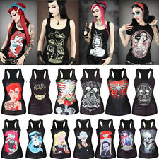 Womens Black Singlet Vest Summer Sleeveless Blouse T-shirt Gothic Punk Tank Tops