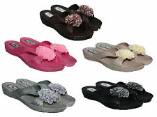 LADIES PINK MULE SUMMER/BEACH SANDALS WITH FLOWER ON FRONT RANGE OF COLOURS/SIZE