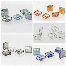 5x5mm/5pcs Faceted Glass Crystal Loose Spacer Teardrop Charm Square Beads