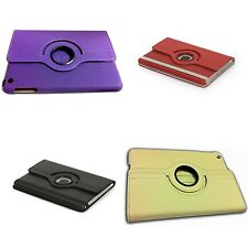 PLAIN LEATHER 360 DEGREE ROTATING CASE FOR APPLE IPAD MINI IN VARIOUS COLOURS