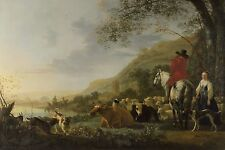 Aelbert Cuyp - A Hilly Landscape with Figures,  Vintage Art Print