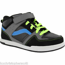 OP Boys' High Top Skate Shoes Size Black Grey Blue Lace Velcro Athletic/Outdoor