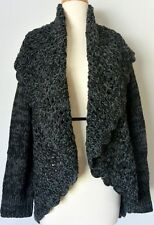 Romeo & Juliet Couture Women's Shawl Collar Open Knit Cardigan Sweater, Charcoal