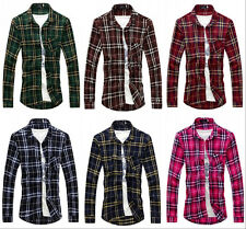 New Mens Plaid Shirts Luxury Casual Slim Fit Stylish Dress Shirts Long Sleeve M
