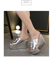 Open toed Sandals Fashion Metal colour Drill High Wedge Heels Summer Beach Shoes