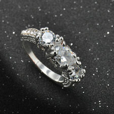 Brand Jewelry Womens Sapphire 18K White Gold Plated Filled Wedding Ring Size 6-9