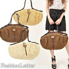 2016 Simple Womens Coconut Beach Shoulder Bag Woven Bags Straw Tote Handbag - LD