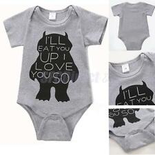Cute Baby Boy Girl Clothes Animal Gray Rompers Summer Short Sleeve Jumpsuits
