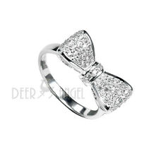 New 925 Sterling Silver Paved White Cubic Zirconia Bowknot Fashion Ring Size7 8