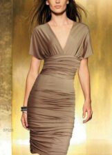 Donna Bella Convertible Party Cocktail Bodycon Little Ruched Brown Dress