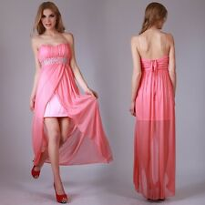 Donna Bella Women Peach Evening Cocktail Long Dress beaded Lined Float Backless