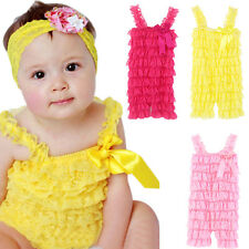 Baby Toddler Girls Summer Layered Lace Ruffle Petti Tiered Romper Climb Clothes