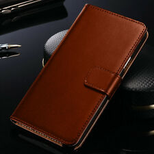 Luxury Brown Real Leather Flip Case Wallet Cover  For Samsung Galaxy Models