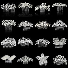 Bridal Wedding Party Flower Leaf Crystal Rhinestone Hair Comb Slide Clip Silver
