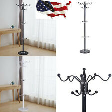 "15 Hooks 70"" Metal Coat Hat Stand Tree Holder Hanger Rack w/ Marble Base New"