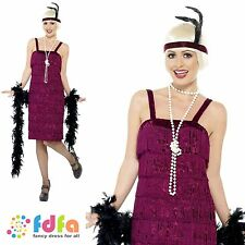20s WINE CHARLSTON GATSBY JAZZ FLAPPER 8-26 - womens ladies fancy dress costume