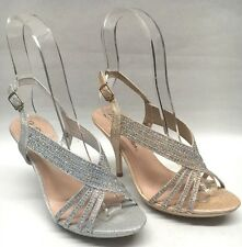 NEW Womens Blossom Collection Lin95 Strappy Glitter Rhinestone Party Heels Shoes