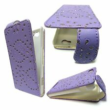 BLING GLITTER LILAC PU LEATHER FLIP CASE COVER FOR SONY XPERIA M C1904