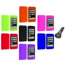 Silicone Rubber Gel Soft Case Cover+Car Charger for iPod Touch 3rd 2nd Gen 3G 2G
