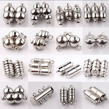 10Set Silver Plated Tube Barrel Round Strong Magnetic Clasps Jewelry Finding DIY