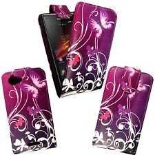 PURPLE PINK BUTTERFLYWITH WHITE SWIRL DESIGN FLIP CASE FOR SONY XPERIA L SE S36H