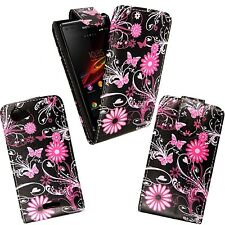 BLACK PINK FLOWER BUTTERFLY DESIGN FLIP CASE FOR SONY XPERIA L SE S36H