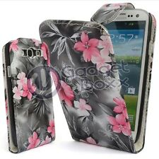 FLOWER PRINT BLACK LEATHER FLIP CASE COVER POUCH FOR SAMSUNG GALAXY S3 i9300