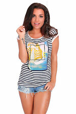 Casual Sequined T-Shirt Shoes Print Crew Neck Top Party Tunic Sizes 8-12 FB249