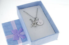 Little girl's silver plated pewter necklace, personalized. Giraffe Necklace.