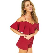 6 Colors Summer New Sexy Off Shoulder Flounce High Waist Short Jumpsuit Rompers