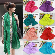 Lady Women Girl Stylish Soft Cotton Voile Scarf Candy Color Warm Scarves Shawl