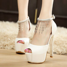 New High Heels Peep Toe Stiletto Sexy Platform Ankle Straps Tassels Womens Shoes