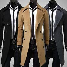 UK STOCK Mens Blazer Double Breasted Overcoat Trench Pea Coat Slim Long Jacket