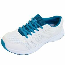 LADIES LACE-UP WHITE TRAINERS SPORTS LACE JOGGING RUNNING GYM CASUAL SHOES 4-9