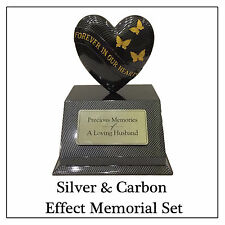 Black & Gold Butterfly Heart Ornament & Cone Vase & Fully Personalised Plaque