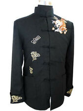 DE Black burgundy Chinese men's Dragon Kung FU party jacket/coat SZ M-3XL