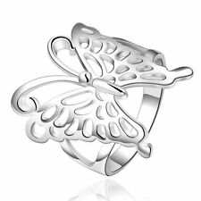 Unisex Fashion Jewelry 925 Silver Beautiful Butterfly Rings Size7-8