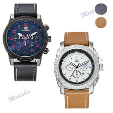 Colors Large Size Fake Six-Pin Real Leather Band Sport Analog Quartz Wristwatch