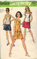 8833 Vintage Simplicity Sewing Pattern Misses Mini Pantdress Casual Summer 1970s