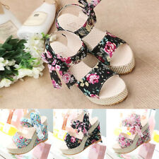 Sexy Women's Bowknot Open Toe Pump Floral High Heel Shoes Wedge Platform Sandals