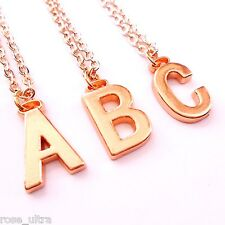 Rose Gold Initial Necklace, Personalised Alphabet Letter Pendant Chain Plated UK