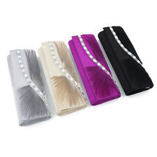 Elegant Wave Crystal Pleated Satin Flap Clutch Evening Bag - Diff Colors Avail