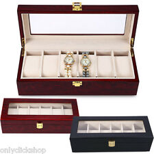 6 Slots Wood Watch Display Case Watches Box Glass Top Jewelry Storage Organizer