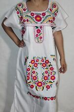 White Small Peasant Tunic Boho Hippie Hand Embroidered Mexican Dress