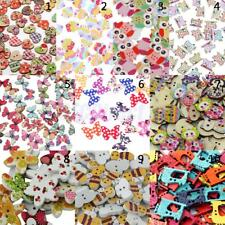 100/50pcs Colored Drawing Wooden Buttons for Sewing Scrapbooking DIY Craft