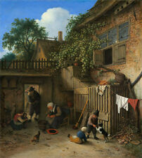 "Adriaen van Ostade : ""The Cottage Dooryard"" (1673) — Giclee Fine Art Print"